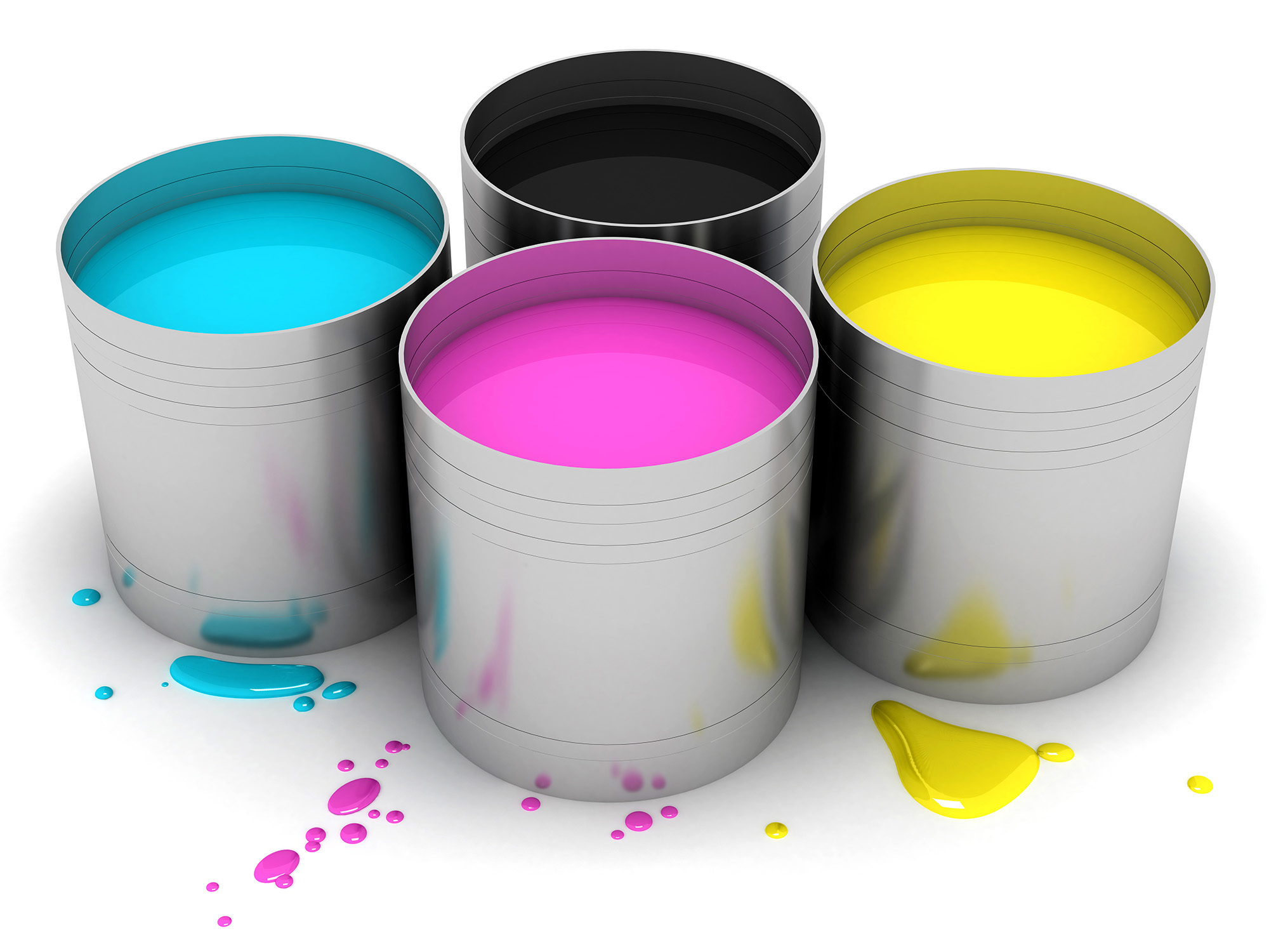 CMYK Cans With Color Paint