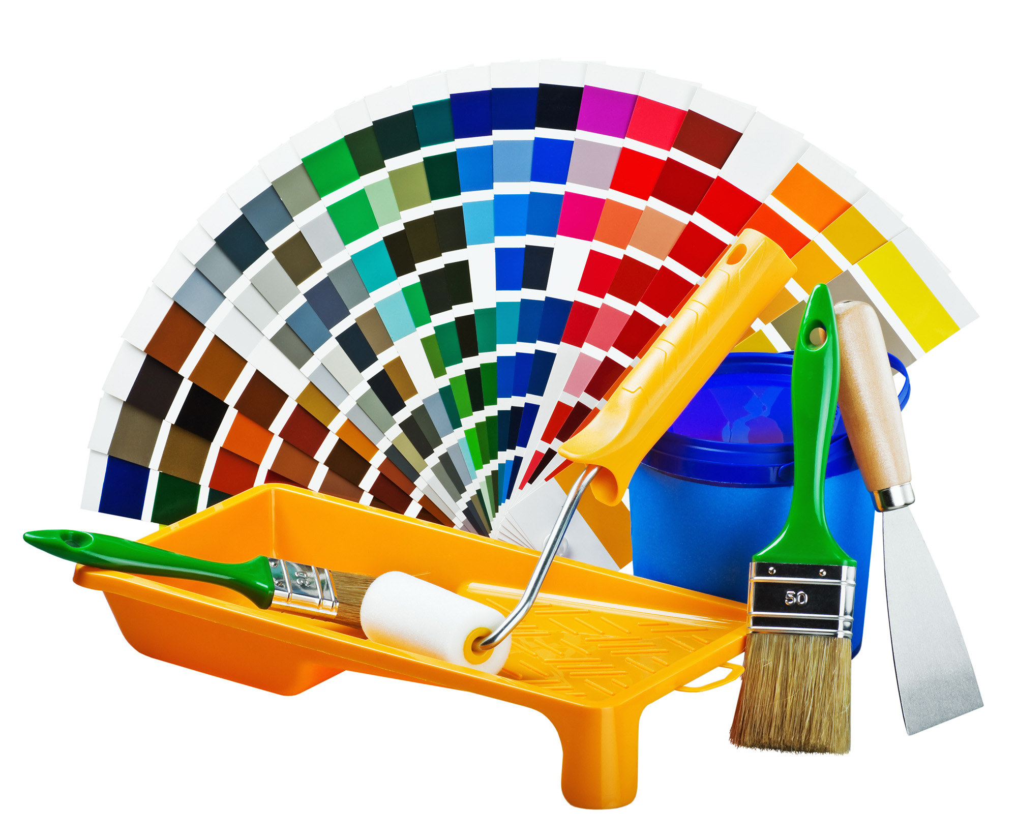 Plastic Can With Paint, Roller, Brushes | HD Free Foto