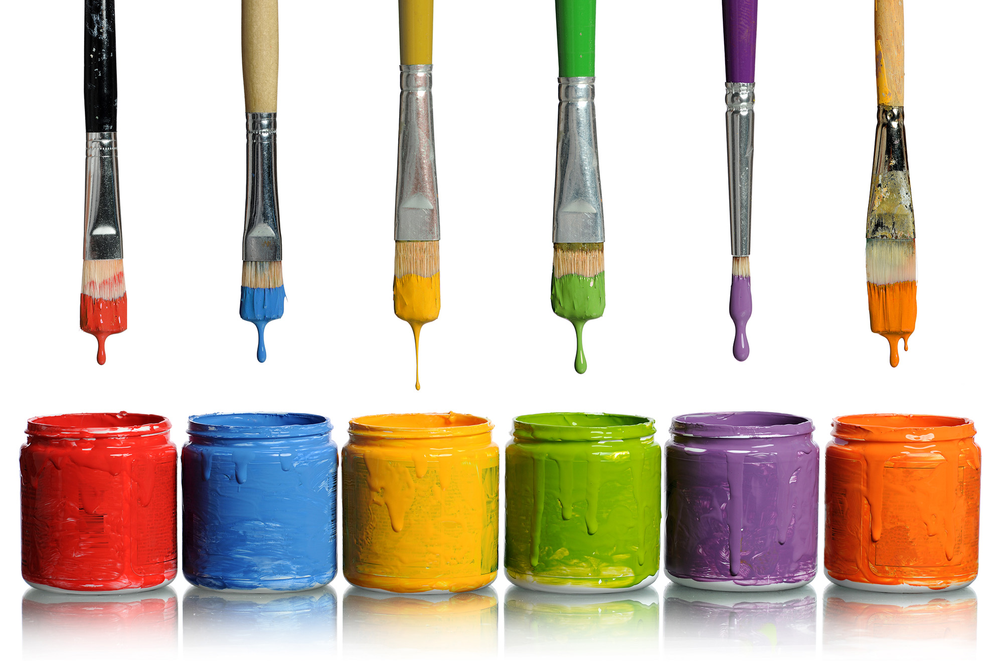 Paintbrushes Dripping into Paint Containers | HD Free Foto