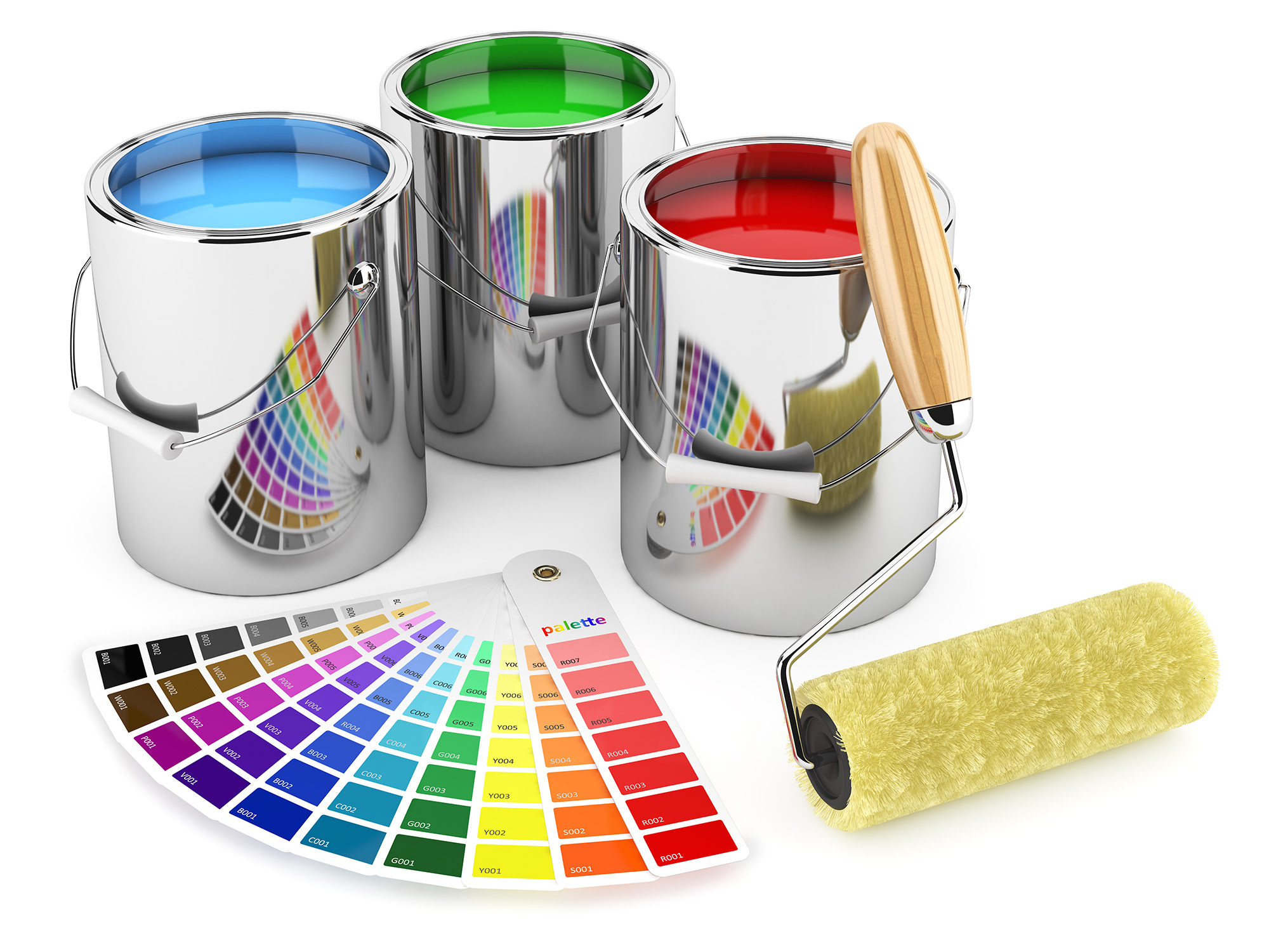 Peintre En Batiment Of Roller Brush And Palette Of Colors Hd Free Foto