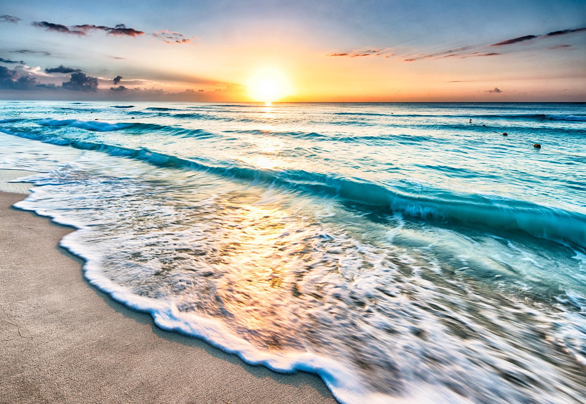 Sunrise Over Beach In Cancun Hd Free Foto