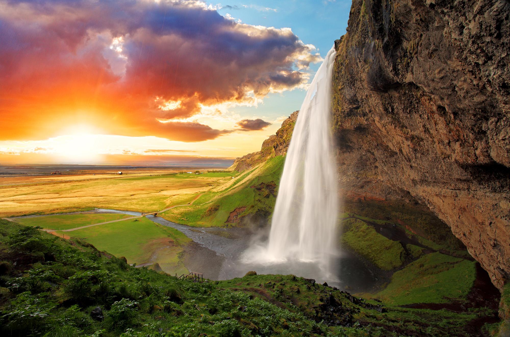 waterfall, iceland, icelandic, mountain, rainbow, river, seljala;