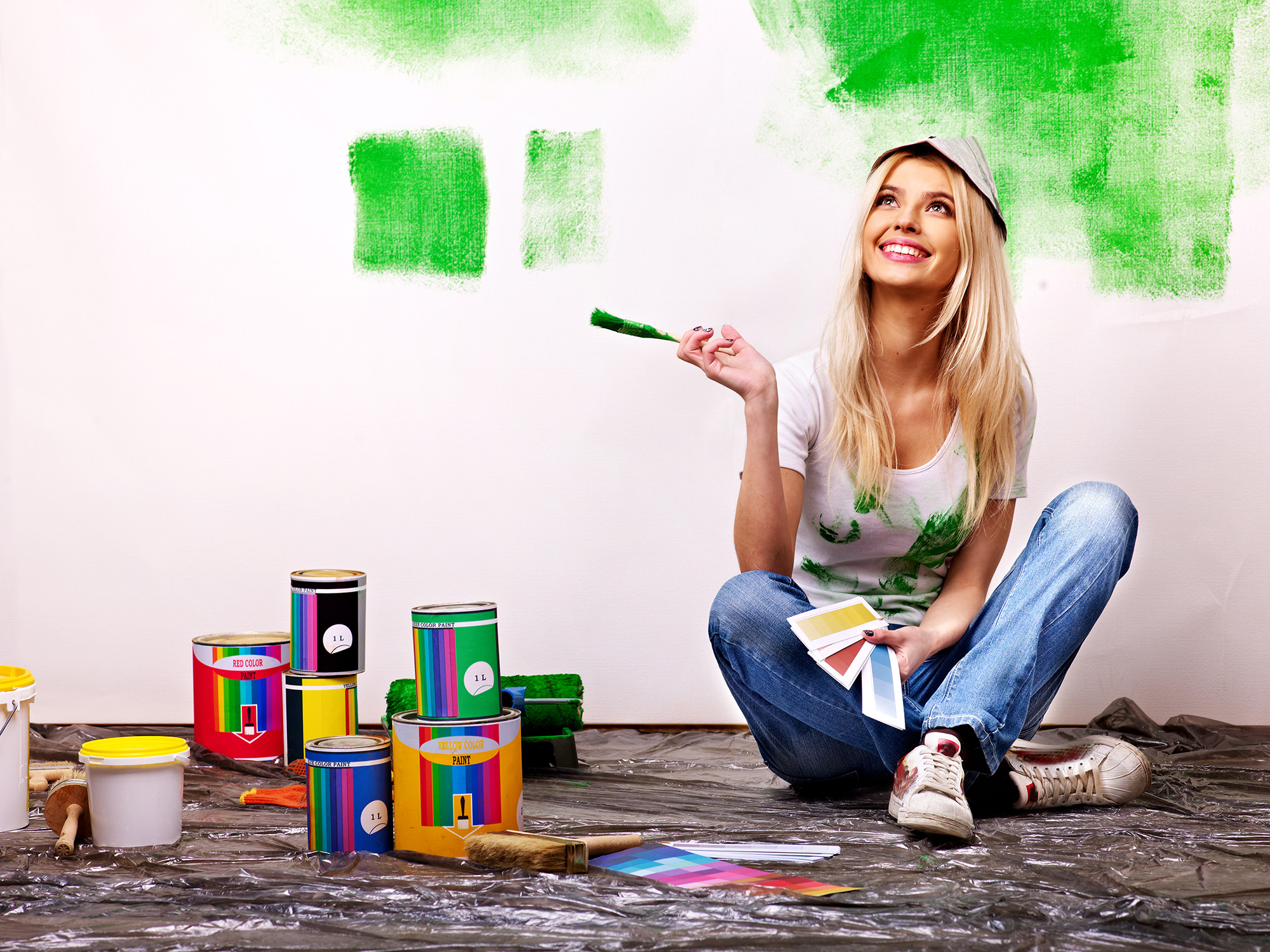 builder, woman, paint, wall, paintbrush, repair, home, roller, people ...